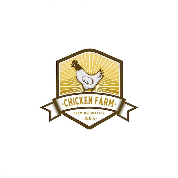 Ferme de poulet logo collection stock Vecteur Premium