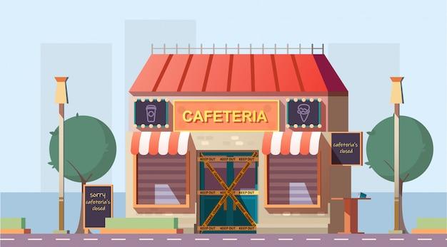 Fermé en raison du vecteur de dessin animé café faillite Vecteur gratuit