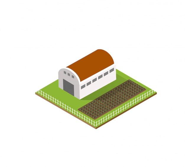 Ferme rurale dans la ville isométrique Vecteur Premium