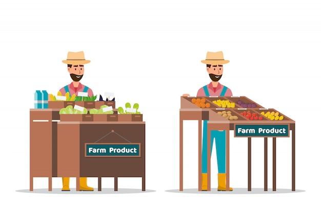 Ferme vendant des fruits et légumes Vecteur Premium