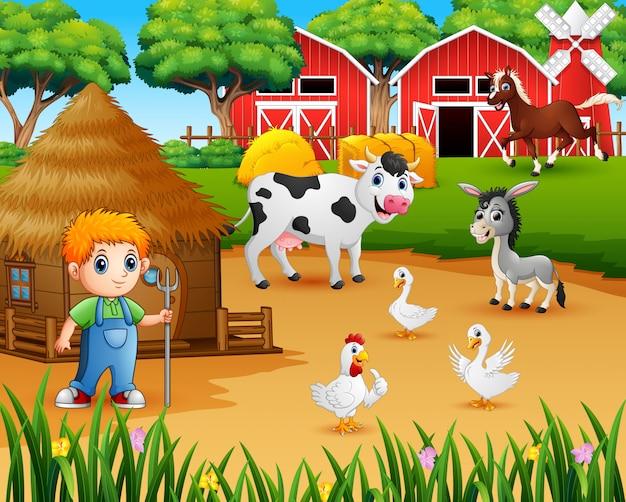 Fermier et animal de la ferme dans la basse-cour Vecteur Premium