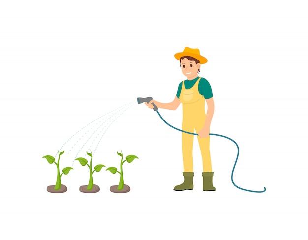 Fermier arrosant des plantes Vecteur Premium