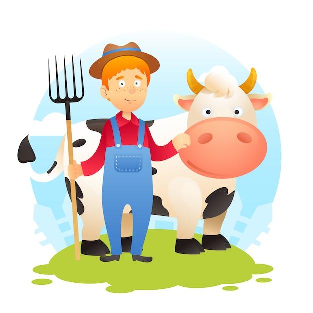 Fermier avec vache Vecteur gratuit