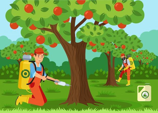 Fertilisation des arbres, illustration vectorielle par injection Vecteur Premium