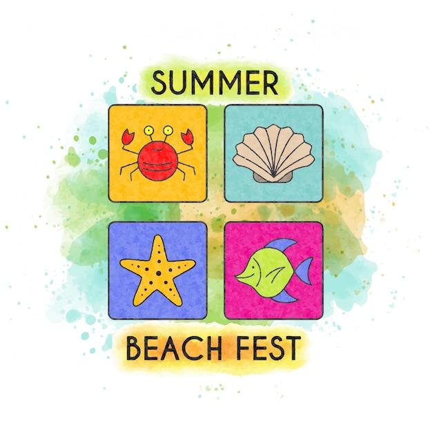 Fest plage d'été. bannière aquarelle Vecteur Premium