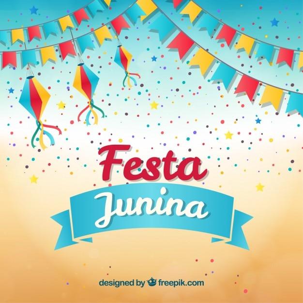 Festa de l'arrière-plan avec des guirlandes et confettis Vecteur gratuit