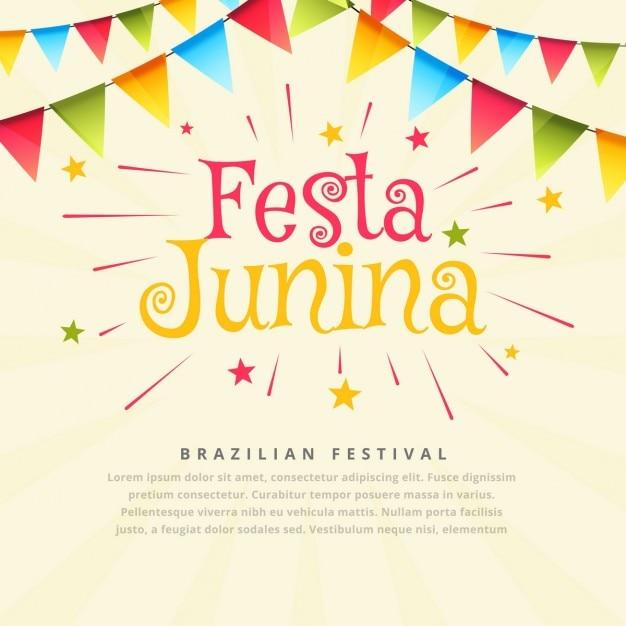 Festa brésilienne junina fond Vecteur gratuit