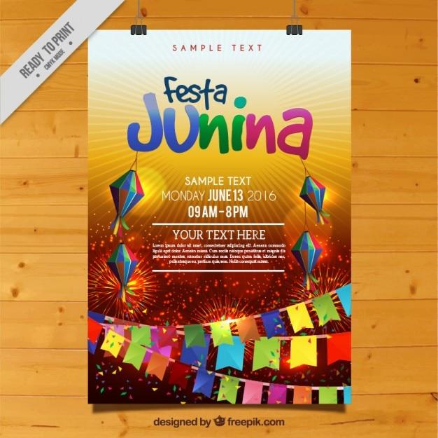Festa colorful affiche junina célébration Vecteur gratuit