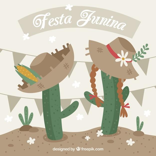 Festa Junina Background Avec Cactucs Vecteur gratuit