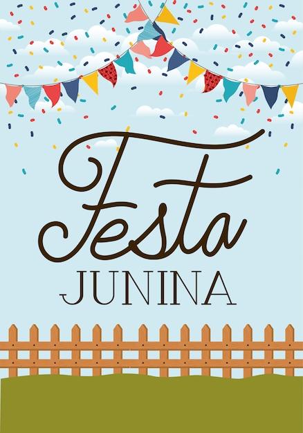 Festa junina avec clôture et guirlandes Vecteur Premium