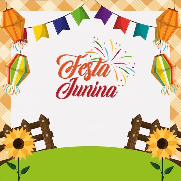 Festa junina concept cartoon Vecteur Premium