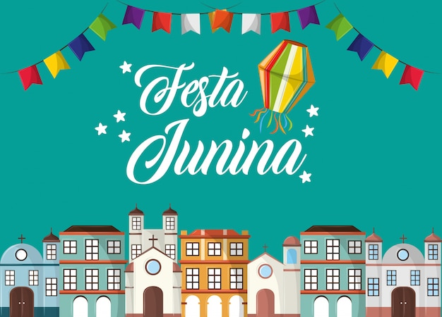 Festa junina concept cartoon Vecteur Premium