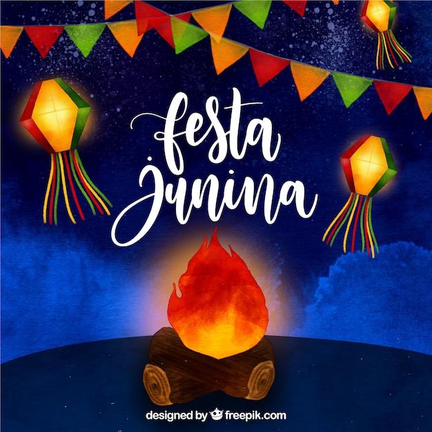 Festa junina fond aquarelle avec feu de joie Vecteur gratuit