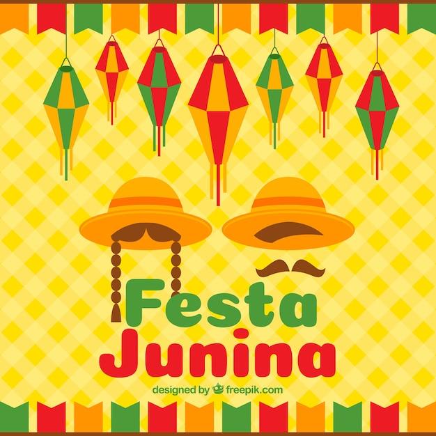 Festa junina fond avec des chapeaux plats Vecteur gratuit