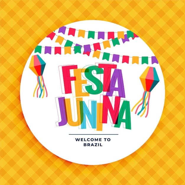Festa junina fond coloré avec des guirlandes Vecteur gratuit