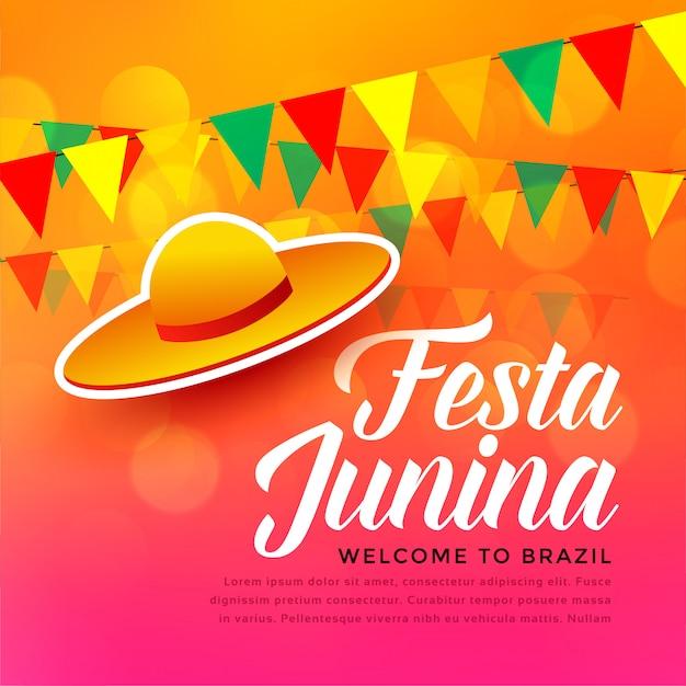 Festa junina fond de fête traditionnelle Vecteur gratuit