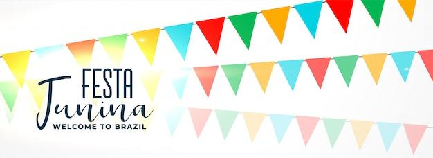 Festa junina avec des guirlandes colorées Vecteur gratuit