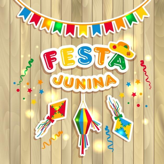 Festa junina illustration sur bois Vecteur gratuit