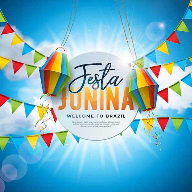 Festa junina illustration avec drapeaux de fête et lanterne en papier Vecteur Premium