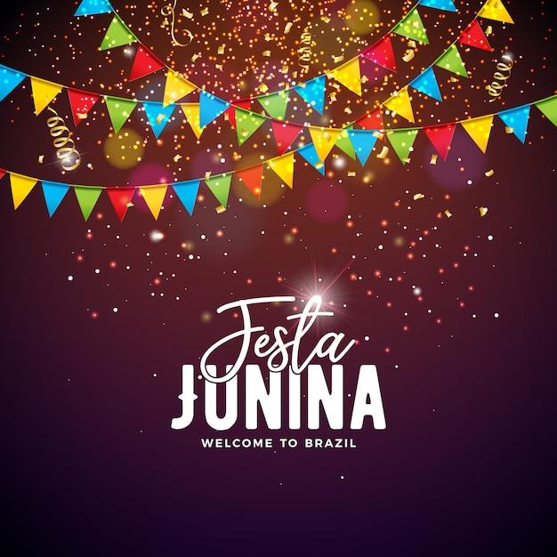 Festa junina illustration avec drapeaux et typographie Vecteur Premium