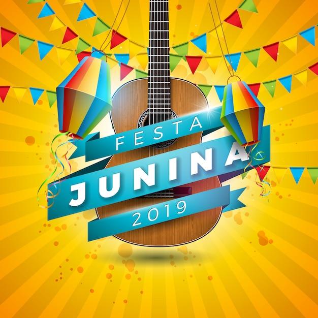 Festa junina illustration avec guitare acoustique Vecteur Premium