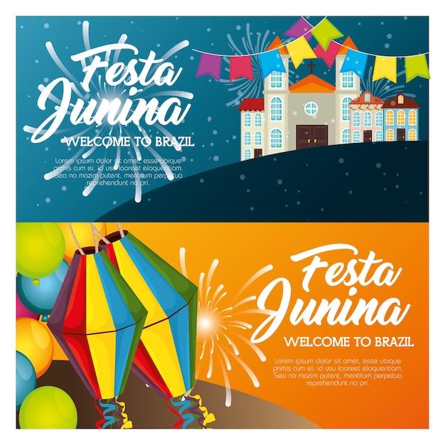 Festa Junina Infographie Avec Paysage De Ville Et Lanternes Vector Illustration Vecteur Premium
