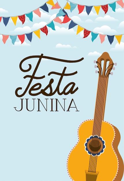 Festa junina avec instrument de guitare Vecteur Premium