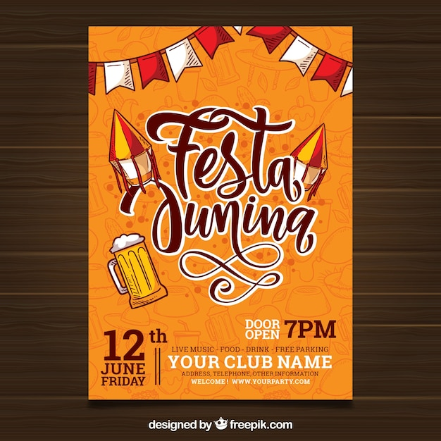 Festa junina invitation flyer avec lettrage Vecteur gratuit