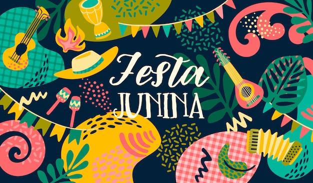 Festa junina. modèle de vecteur Vecteur Premium