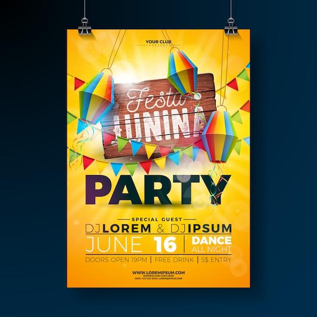 Festa junina party flyer design avec une planche en bois vintage Vecteur Premium