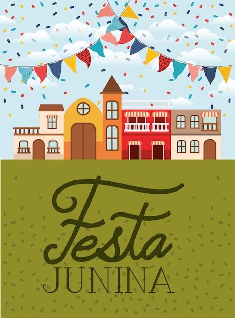 Festa junina avec scène de village et guirlandes Vecteur Premium