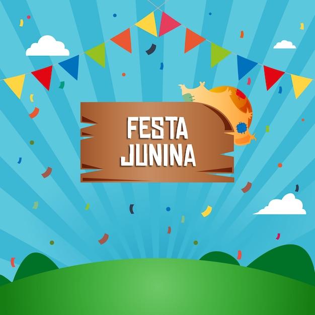 Festif festa junina fond Vecteur Premium