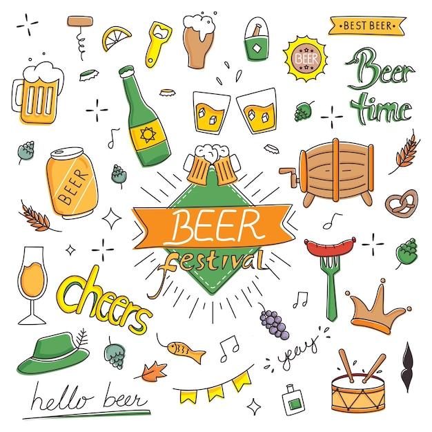 Festival de la bière dans le style de doodle dessinés à la main Vecteur Premium