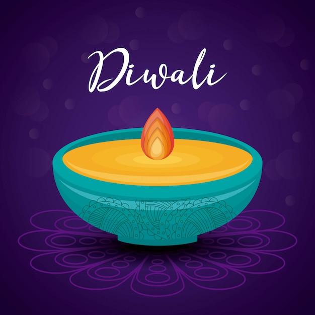 Festival de bougie diwali Vecteur gratuit