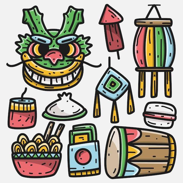 Festival Chinois De Dessin Animé Kawaii Doodle Vecteur Premium