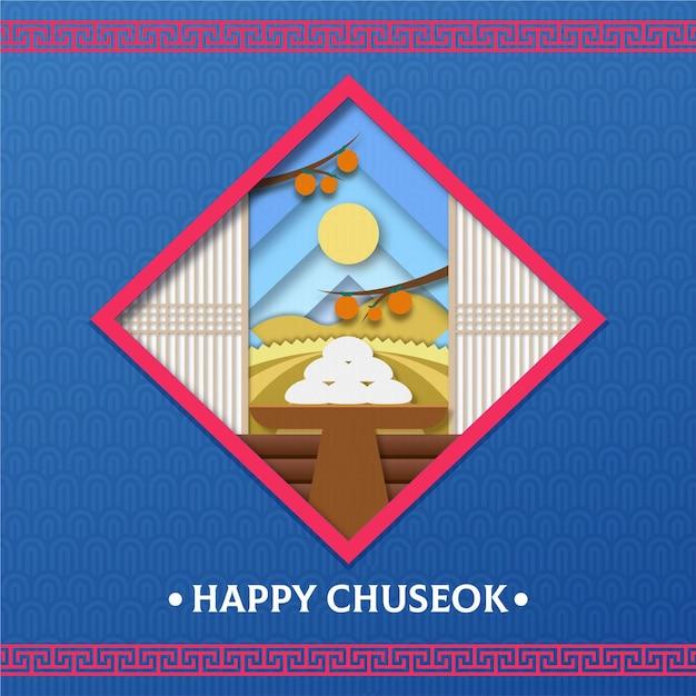 Festival De Chuseok En Style Papier Vecteur gratuit