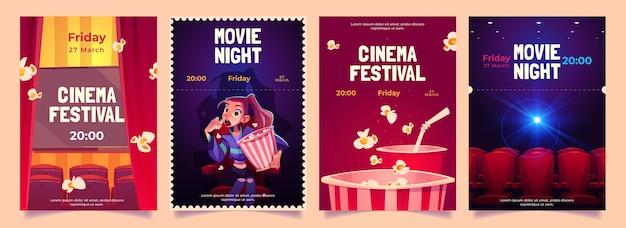 Festival De Cinéma, Ensemble De Flyers De Dessin Animé De Nuit De Cinéma. Vecteur gratuit