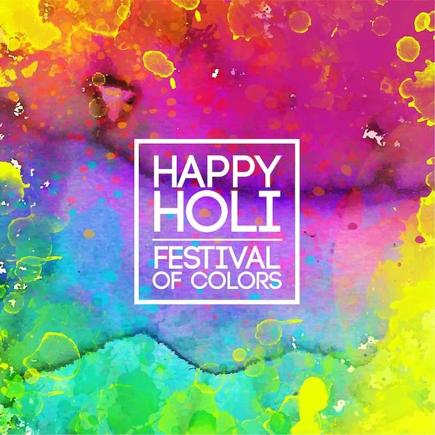 Festival De Couleurs Aquarelle Holi Vif Vecteur gratuit