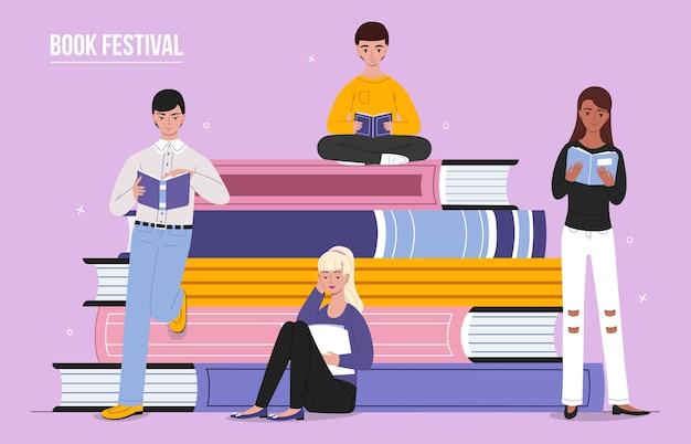 Festival du livre lisant des personnes Vecteur gratuit
