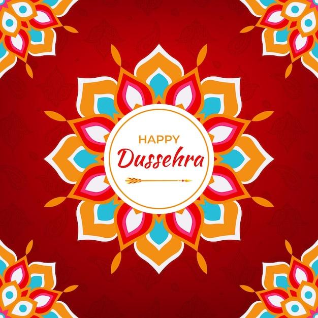 Festival De Dussehra Dessiné à La Main Vecteur Premium