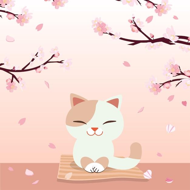 Festival hanami. festival des fleurs de cerise. Vecteur Premium