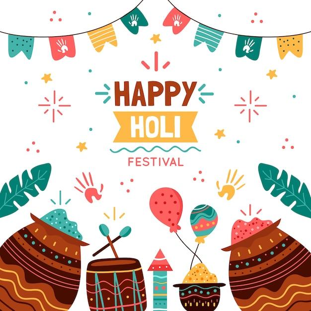 Festival De Holi Hindou Dessiné à La Main Vecteur gratuit