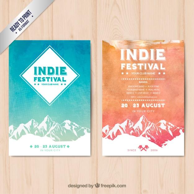Festival Indie Affiches Vecteur gratuit