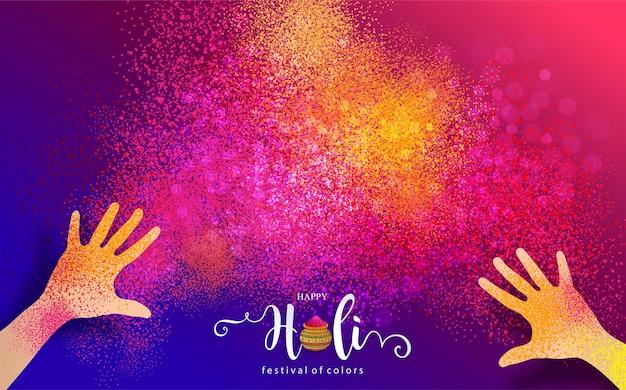 Festival Indien De Couleur Poudre Gulaal Coloré Pour Carte Happy Holi Avec Motifs Dorés Et Cristaux Sur Papier Couleur Vecteur gratuit