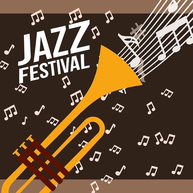 Festival de jazz trompette jouer fond de notes de musique Vecteur Premium