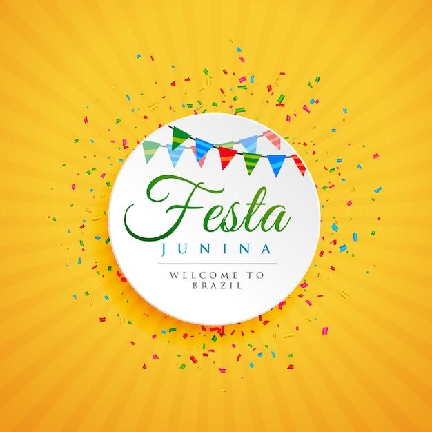 Festival de juin de brésil festa junina background avec confettis Vecteur Premium