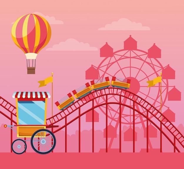Festival juste avec des attractions amusantes paysages Vecteur gratuit