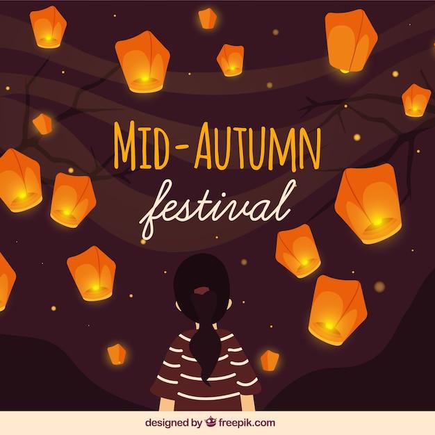 Festival moyen de l'automne, scène mignonne avec lanternes Vecteur gratuit