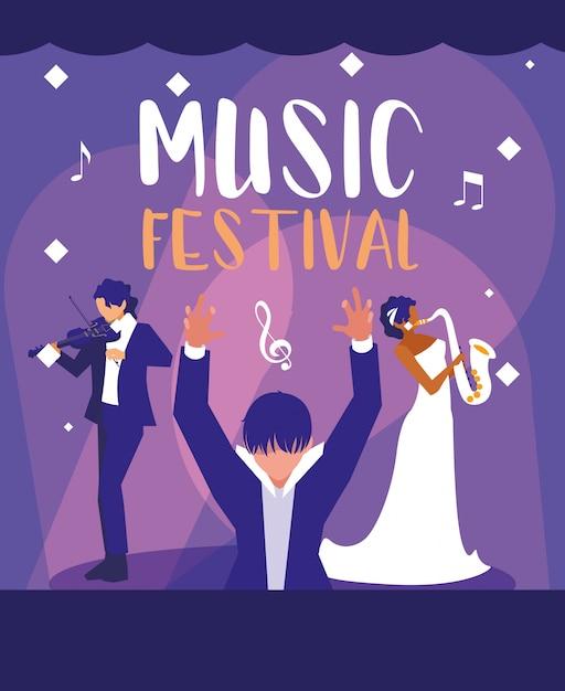 Festival De Musique Avec Chef D'orchestre Vecteur Premium