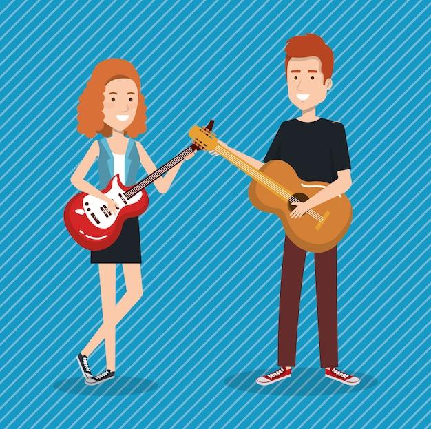 Festival De Musique En Direct Avec Couple Jouant De La Guitare Vecteur gratuit